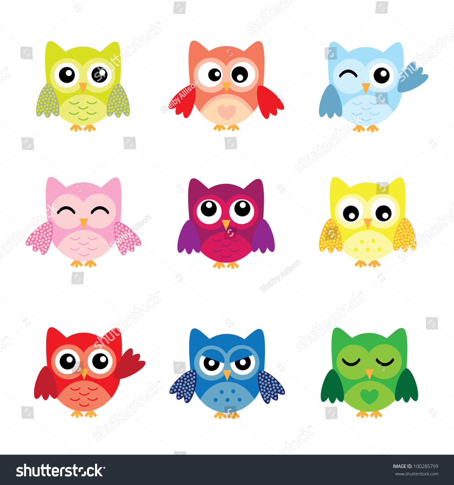 Cute owl characters stock vector 100285799 shutterstock cute owl characters voltagebd Image collections