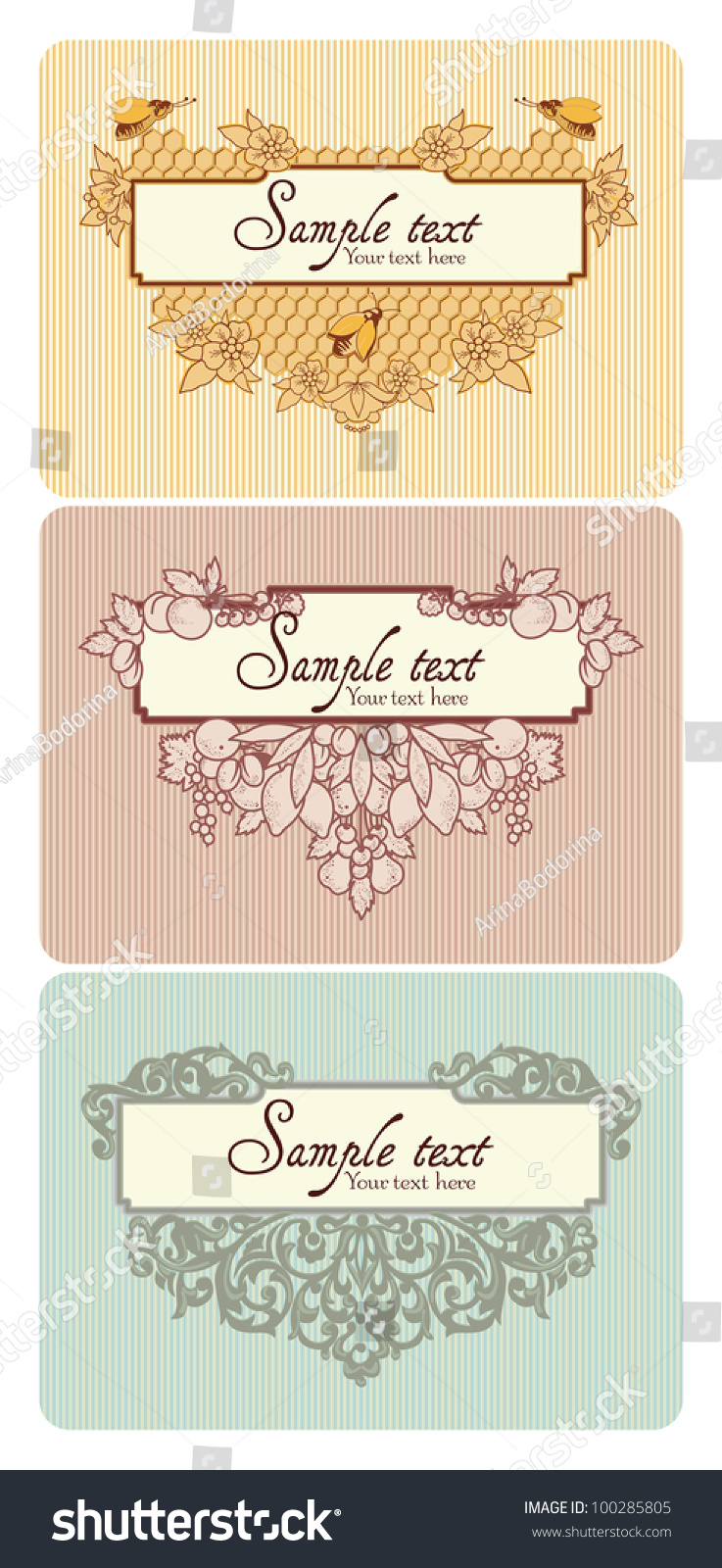 Different Types Decorative Elements Combined Frame Stock Vector ...