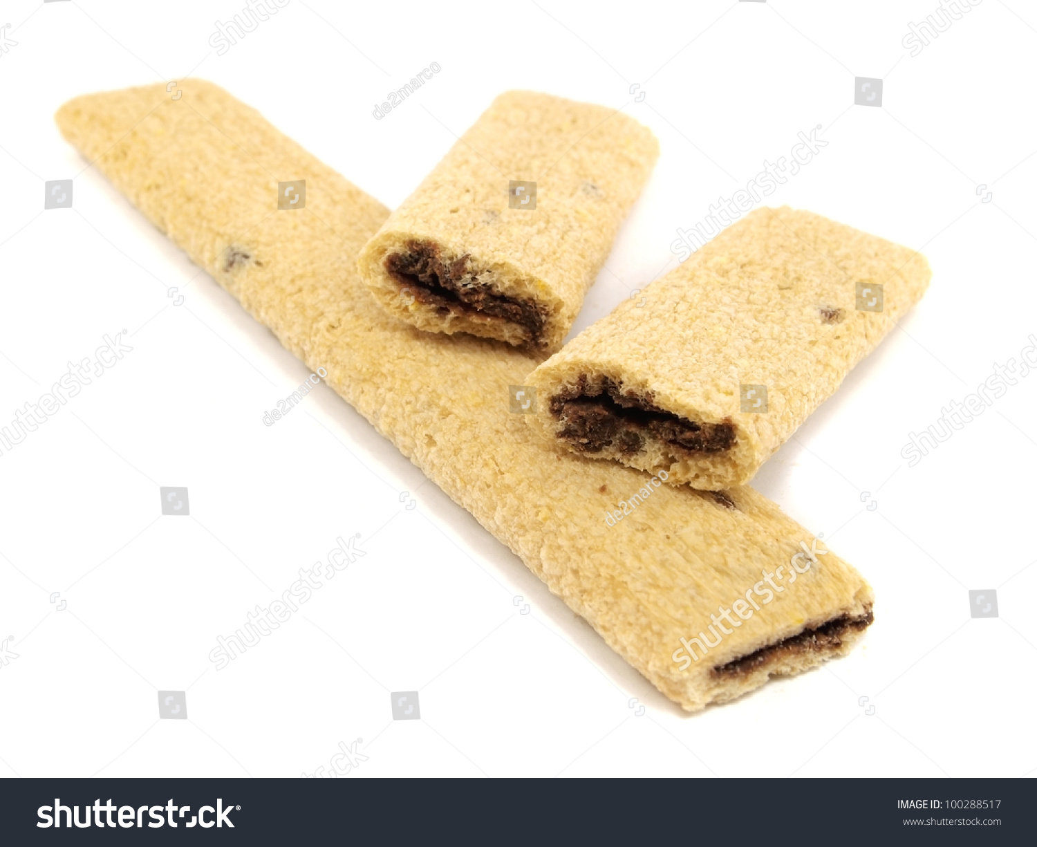 Cookies with a chocolate stuffing on a white background #100288517