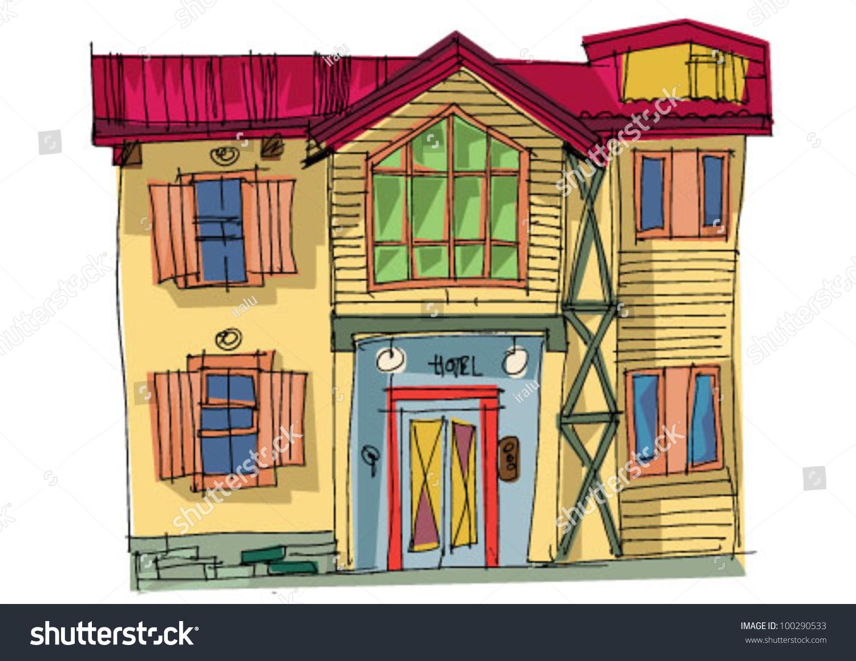 Alpine Hotel Cartoon Stock Vector 100290533 - Shutterstock