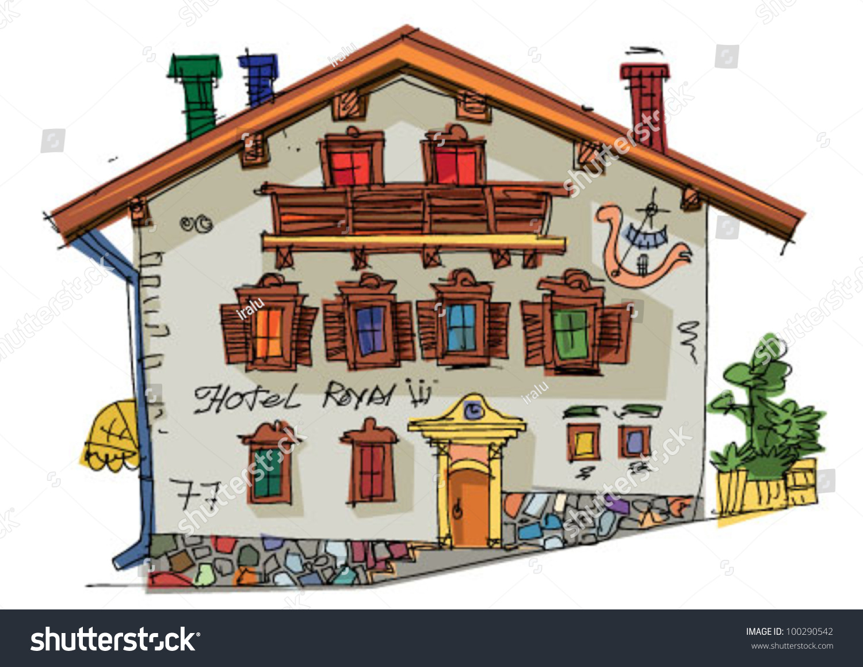 Alpine Hotel Cartoon Stock Vector 100290542 - Shutterstock