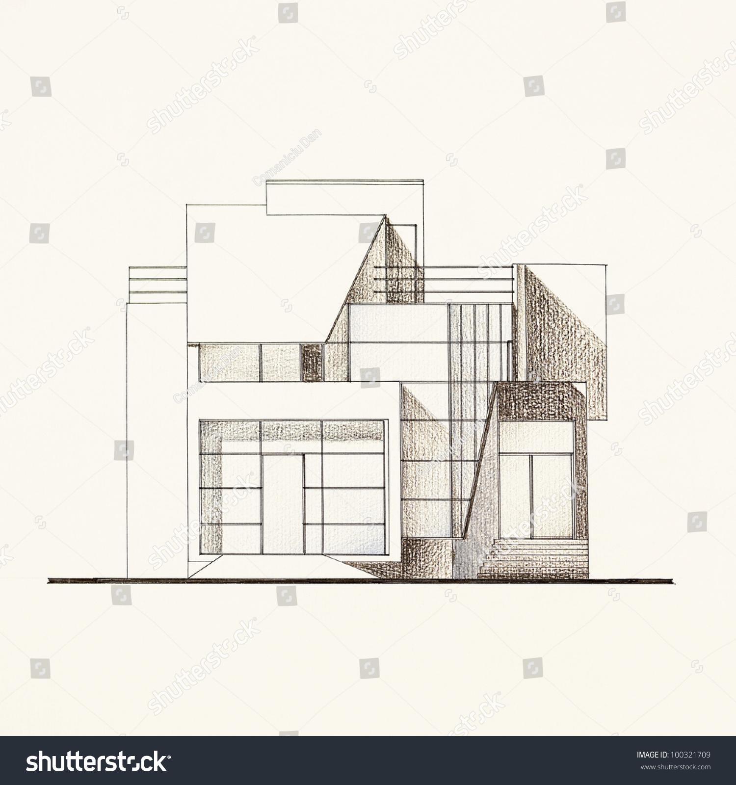 olored rchitectural Blueprint Modern House Facade Stock ... - ^