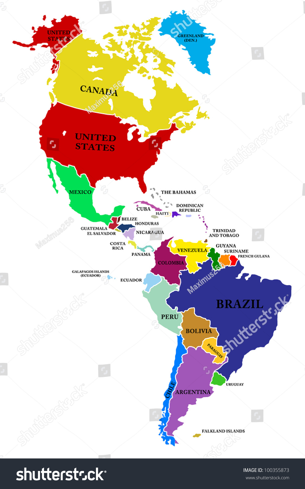 Map North South America Stockillustration 100355873 – Shutterstock