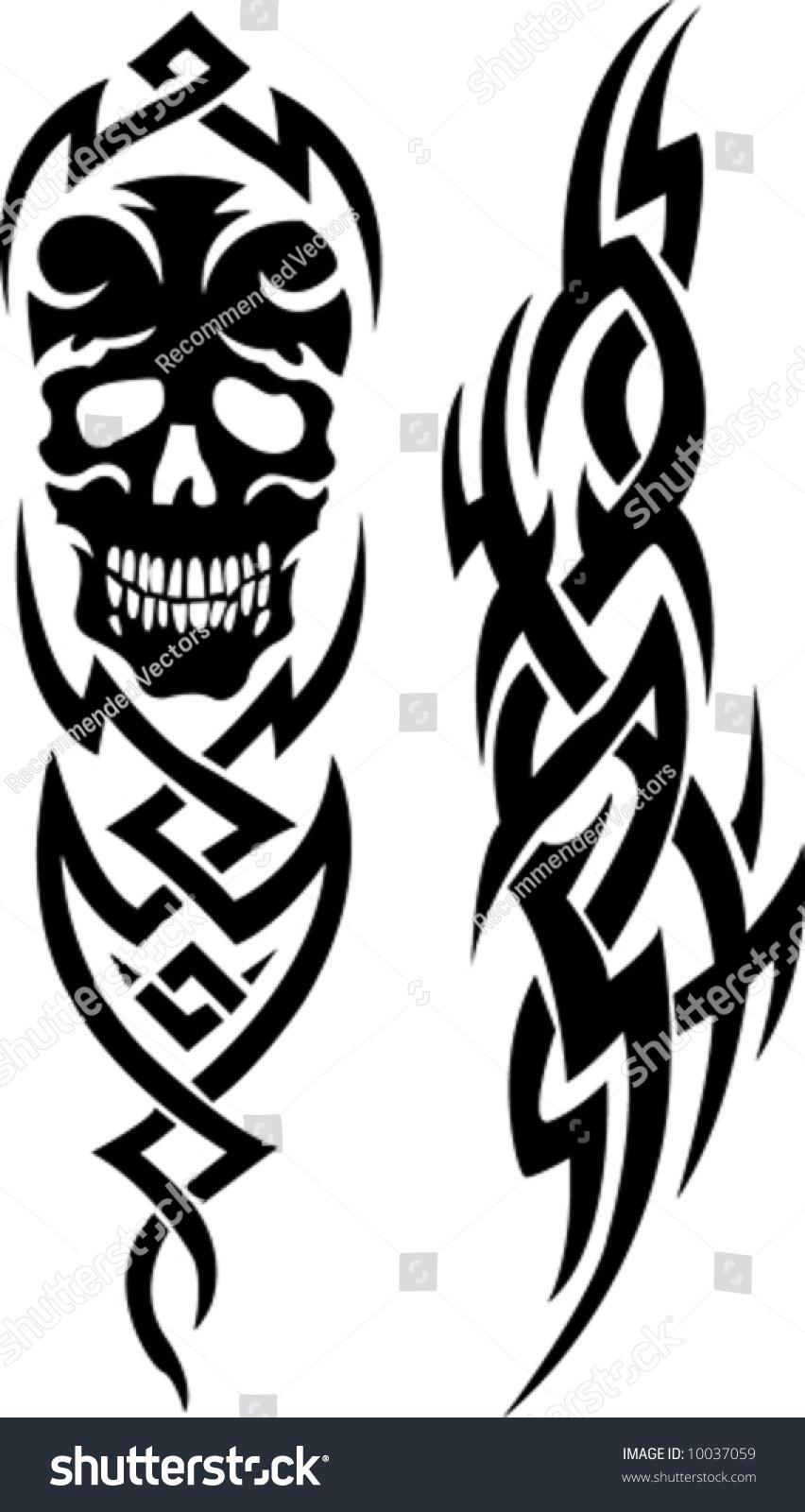 Tribal Tattoo Skull Stock Vector Royalty Free 10037059 Shutterstock