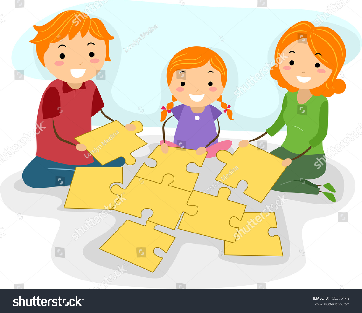Illustration Of A Family Solving Jigsaw Puzzle Together