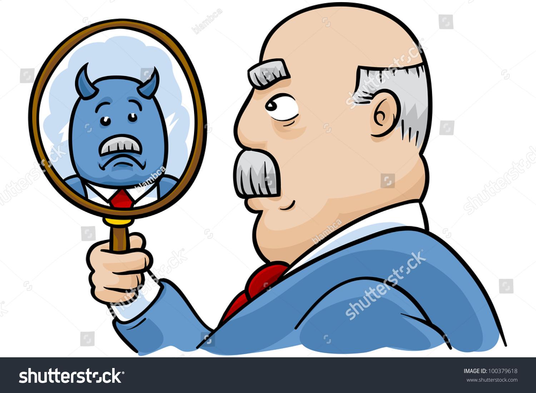 A Cartoon Businessman Sees A Reflection Of Himself As A