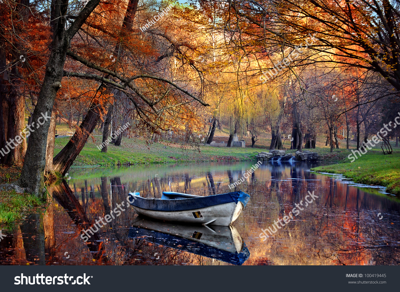 Colorful autumn landscapenature backgroundboat on lake - Colorful nature pics ...