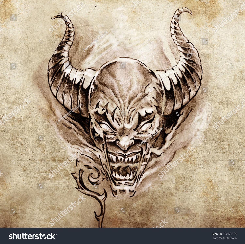 Tattoo Art Sketch Devil Big Horns Stock Illustration ...