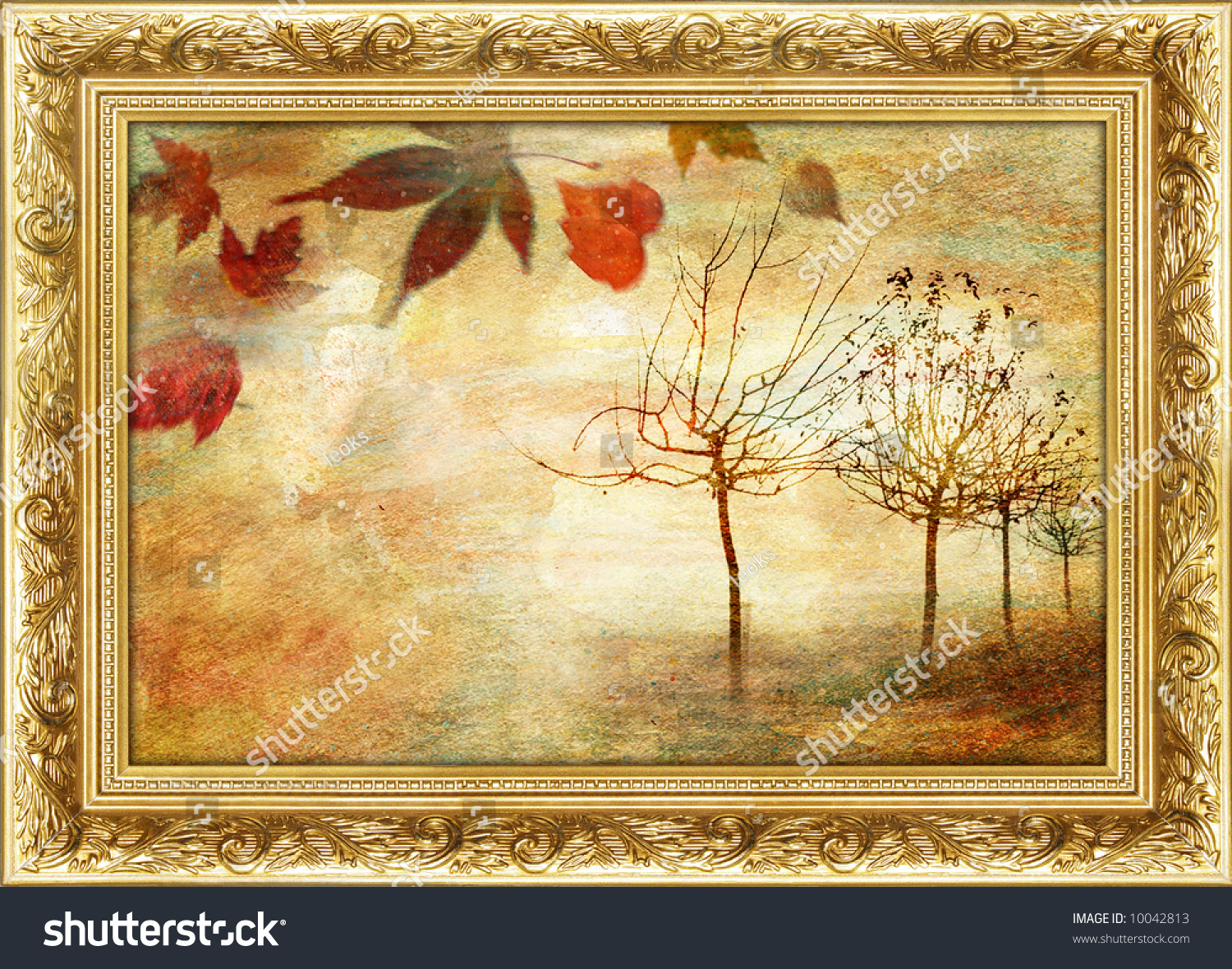 autumn beautiful painting in gilded frame