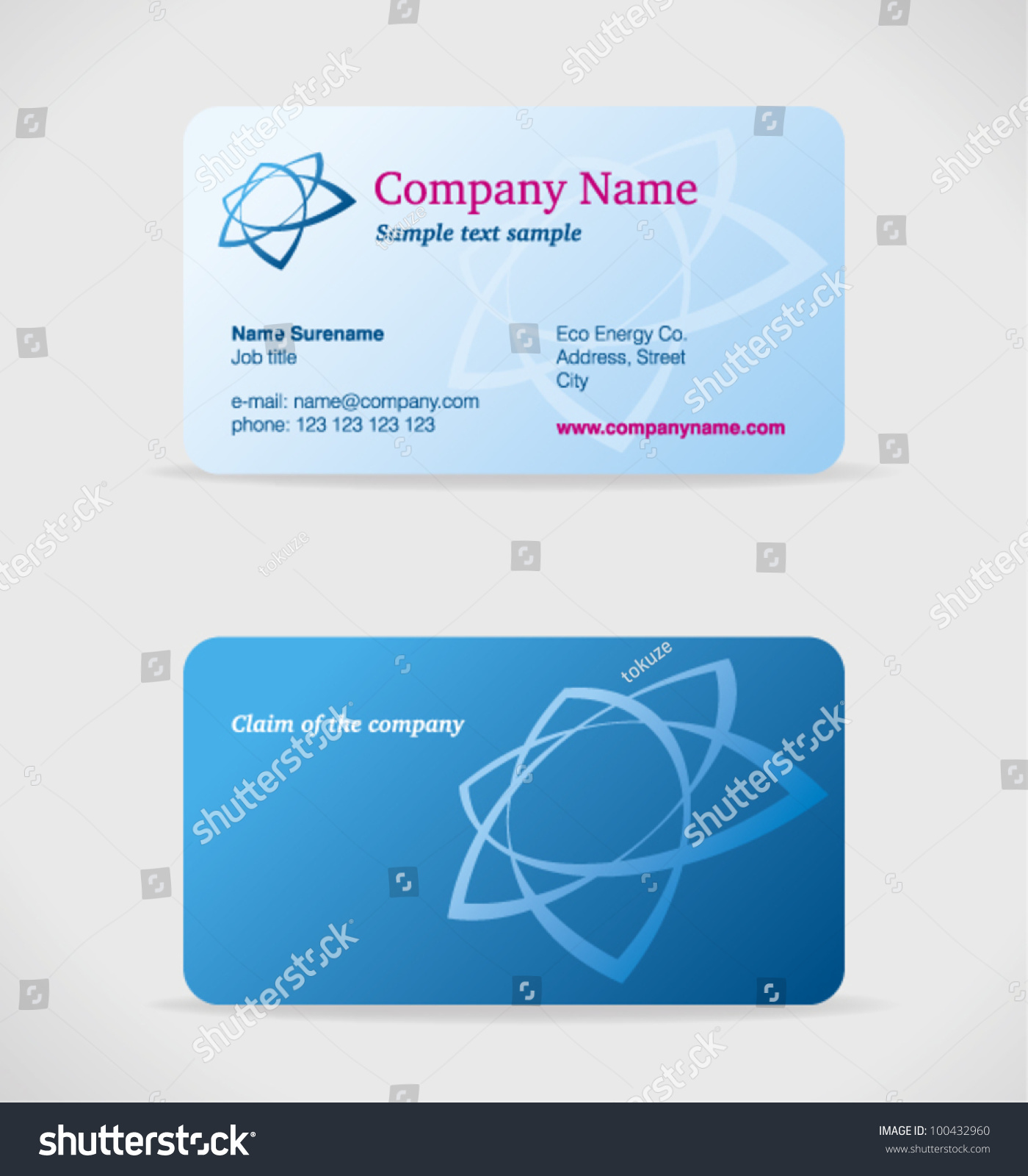 Vector Blue Business Card Front Back Stock Vector 100432960 ...
