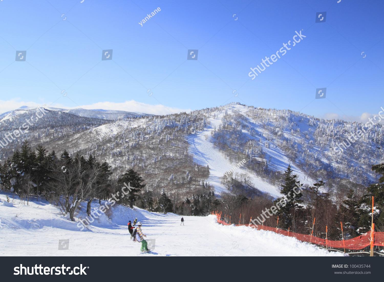 ski run appi hachimantai iwate touhoku stock photo (edit now