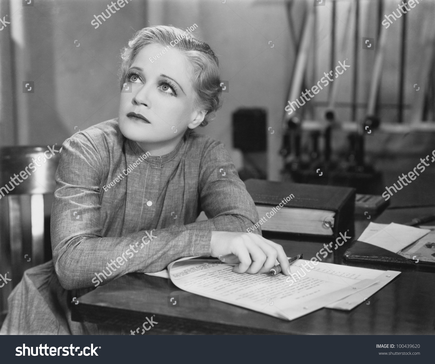 Woman Writing At Desk Stock Photo 100439620 : Shutterstock