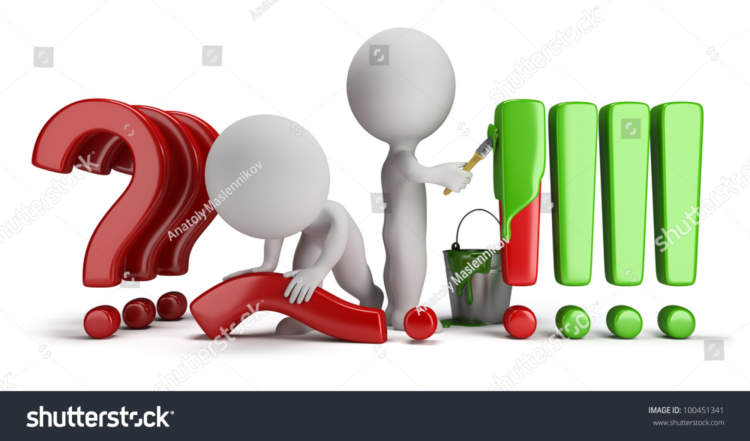 3d person with magnifying glass and question mark stock images image - 3d Small People Straighten Question Marks And Exclamation Marks Painted 3d Image Isolated White