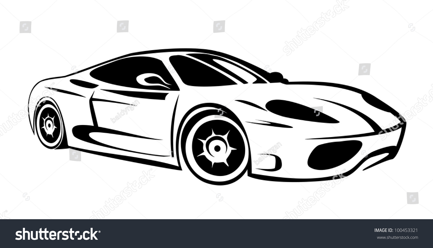 Sports car silhouette vector 12