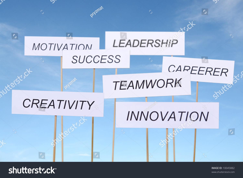 set seven white transparents business slogans stock photo  set of seven white transparents business slogans innovation creativity teamwork career
