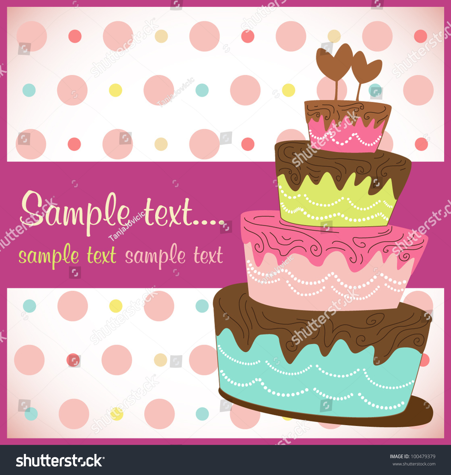 Vector birthday cake invitation stock vector 100479379 shutterstock vector birthday cake invitation stopboris Image collections