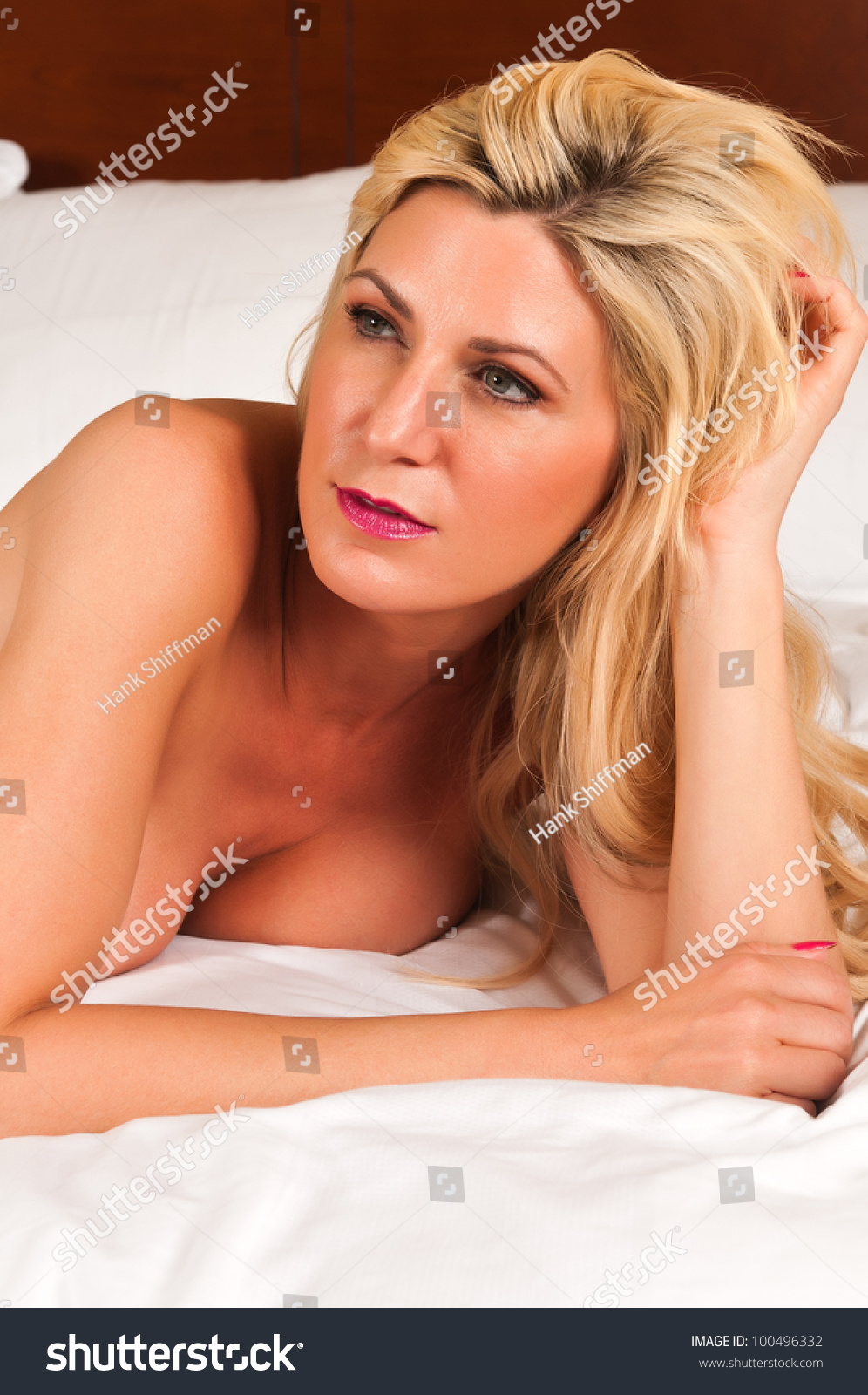 Beautiful Mature Blonde Nude Bed Stock Photo 100496332 -7468