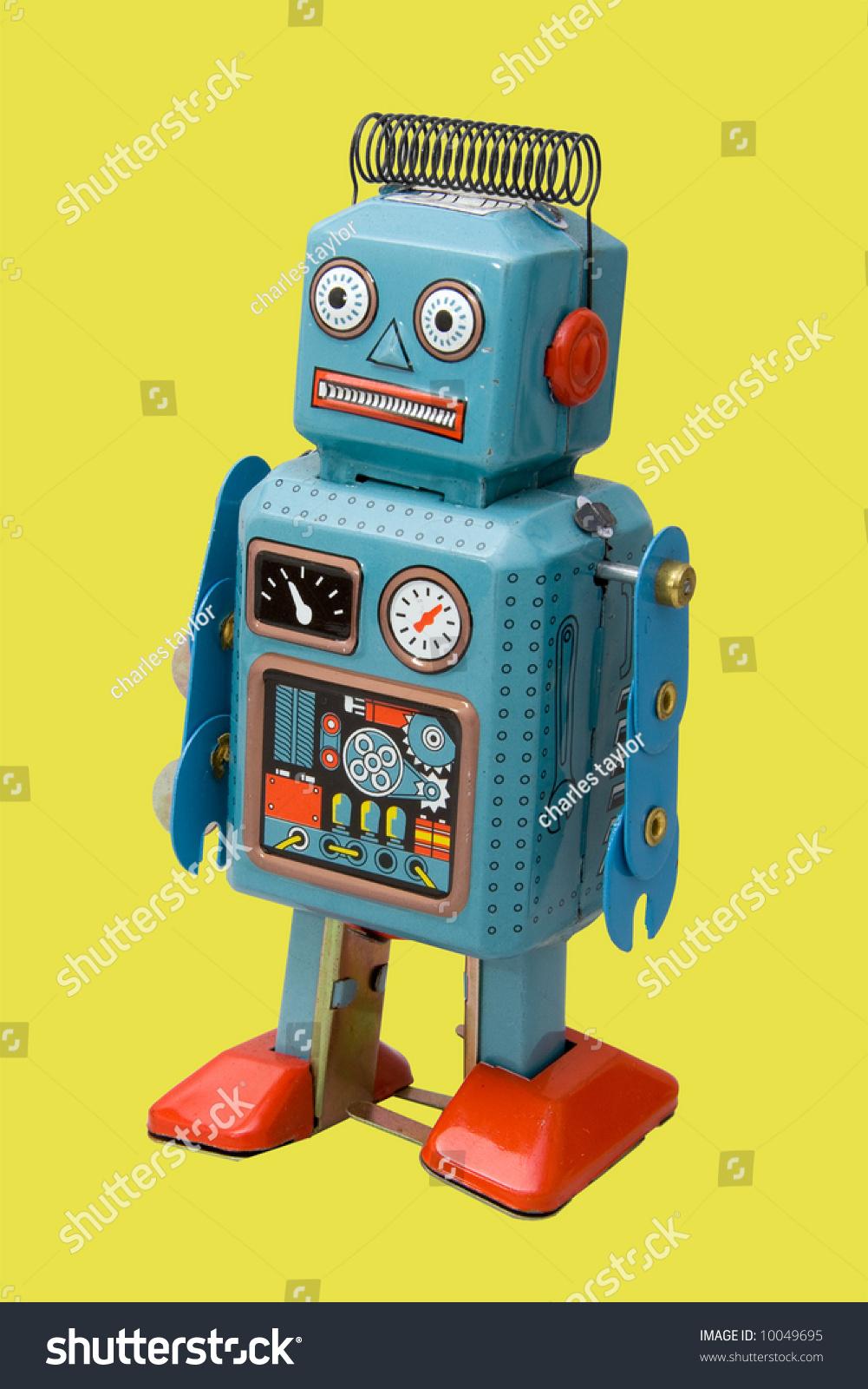 Retro Robot Toy Yellow Background Stock Photo 10049695 ...