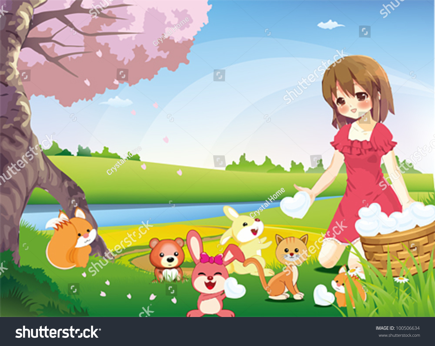 sharing true love world cute young stock vector 100506634