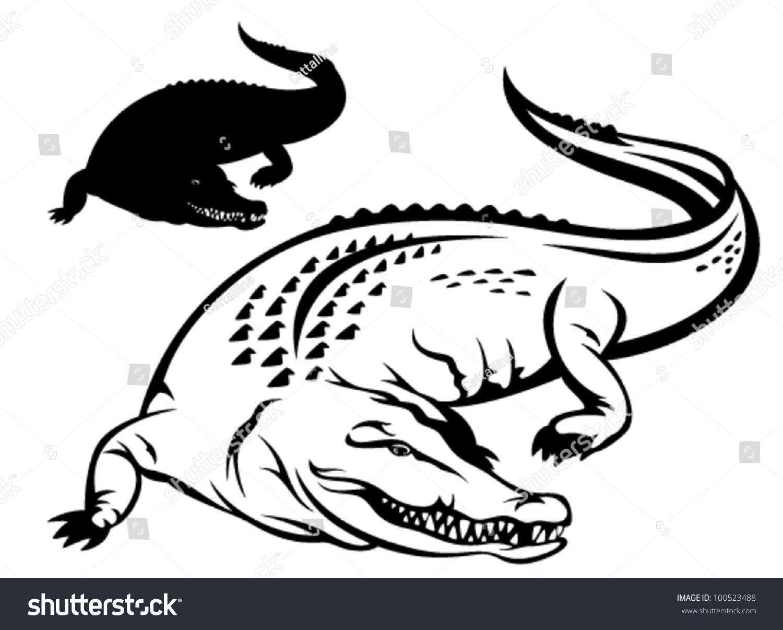 crocodile vector illustration black white outline stock vector royalty free 100523488 https www shutterstock com image vector crocodile vector illustration black white outline 100523488