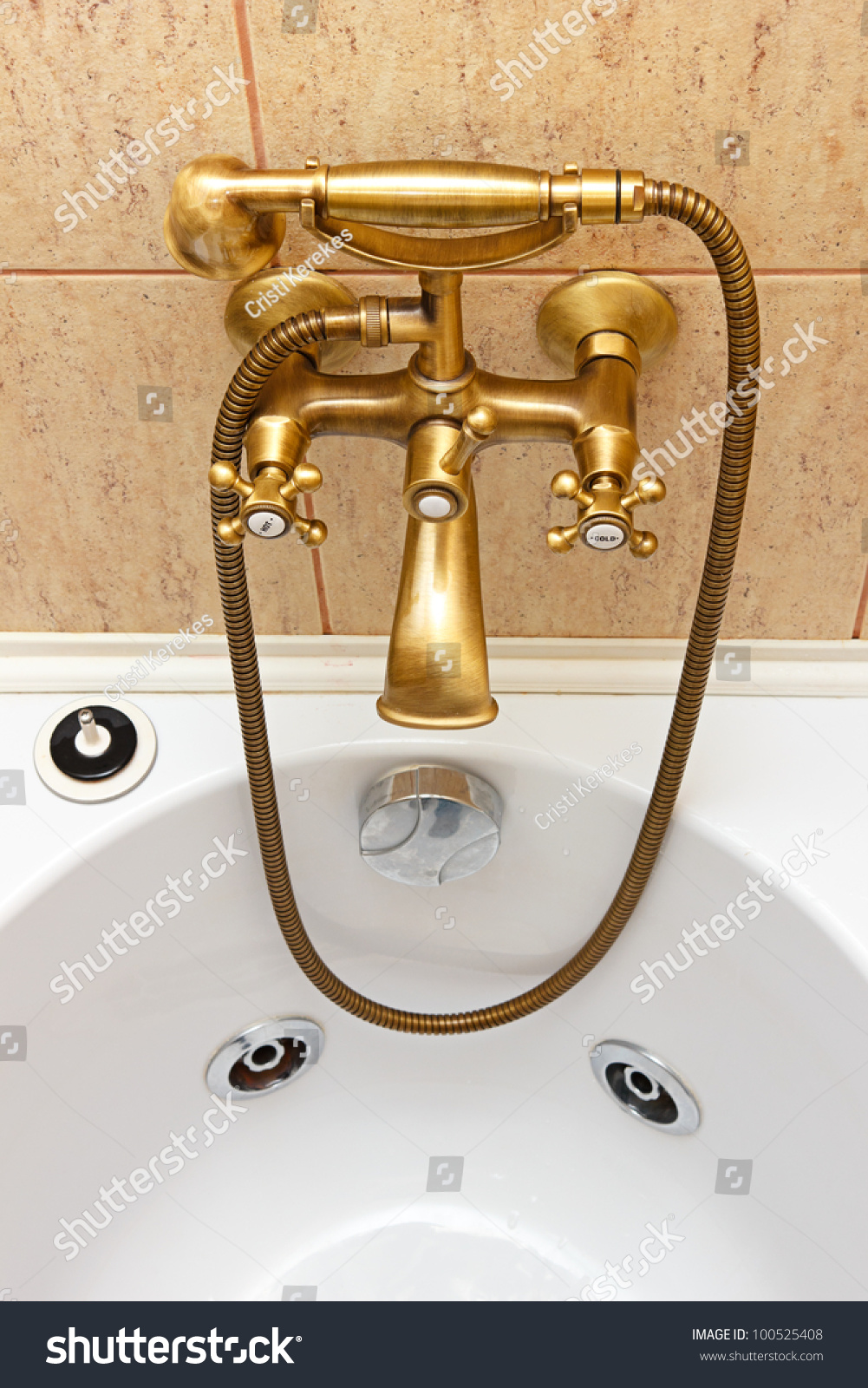 Vintage Bathtub Faucet Ceramic Tiles Background Bathtub Stock Photo ...