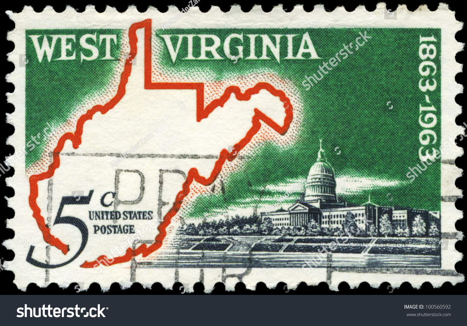 Usa  Circa 1963 A Stamp Printed In Usa Shows Map Amp State