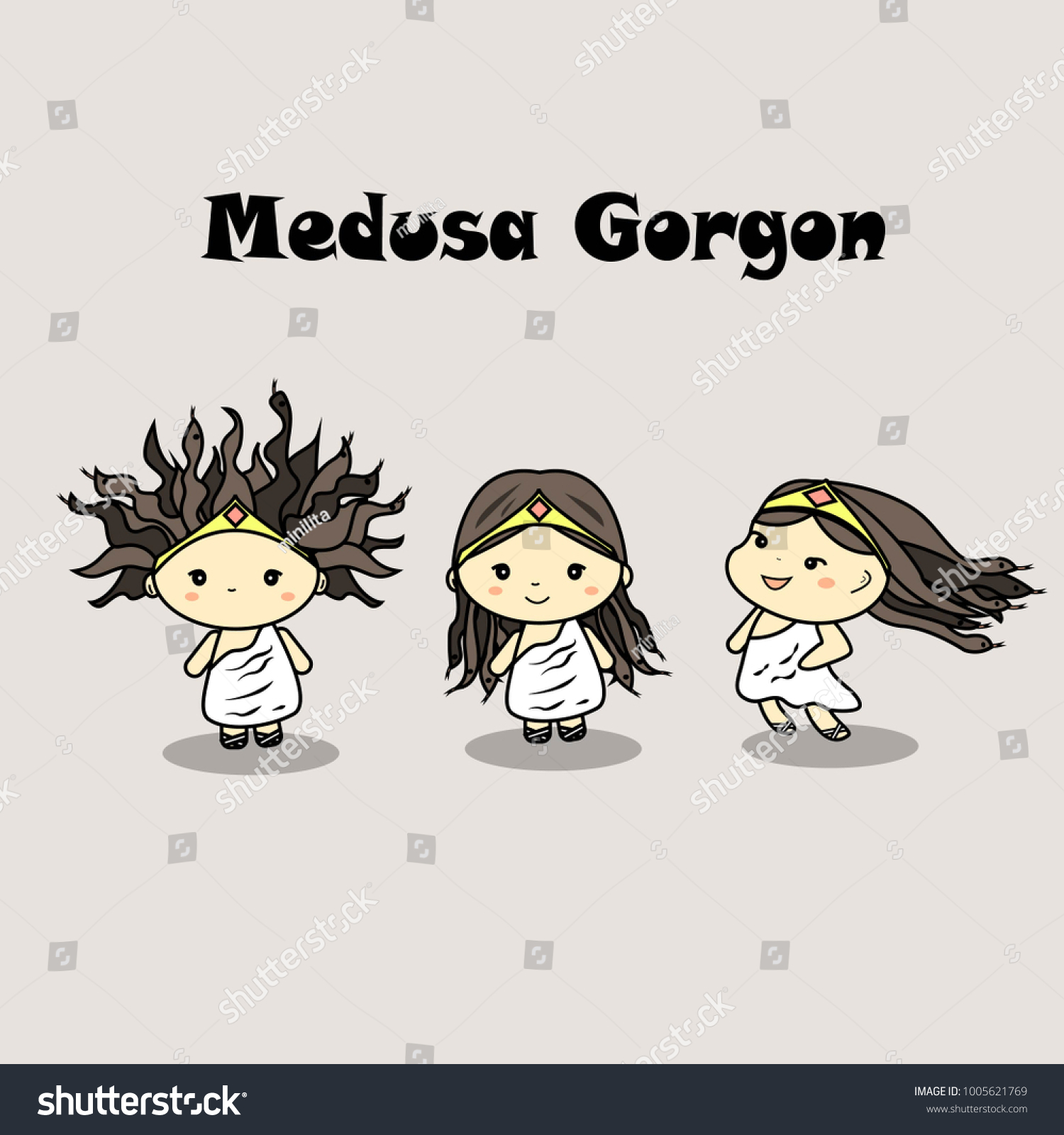 Meduza Gorgon Cute Chibi Illustration Bad Stock Vector Royalty Free