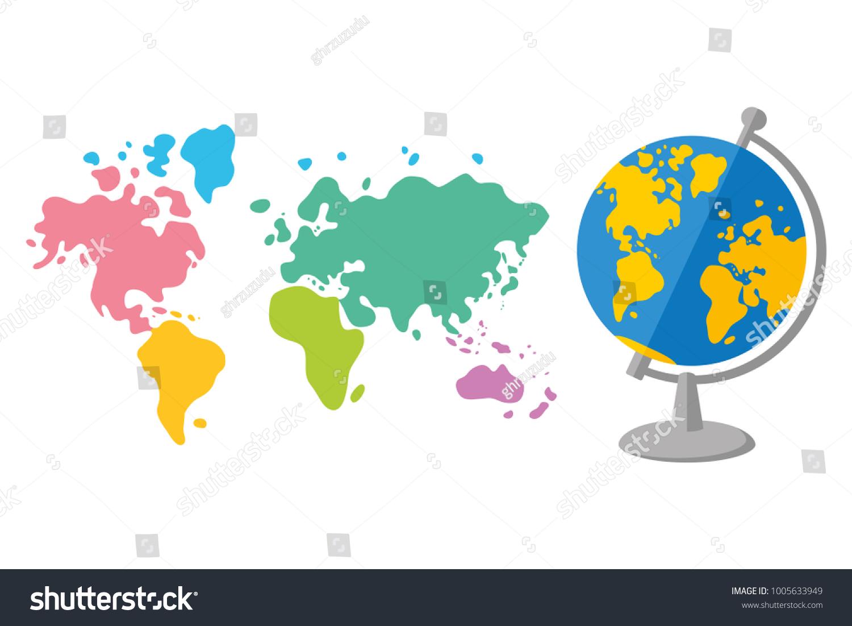 world map globe flat cartoon vector stock vector 1005633949 shutterstock
