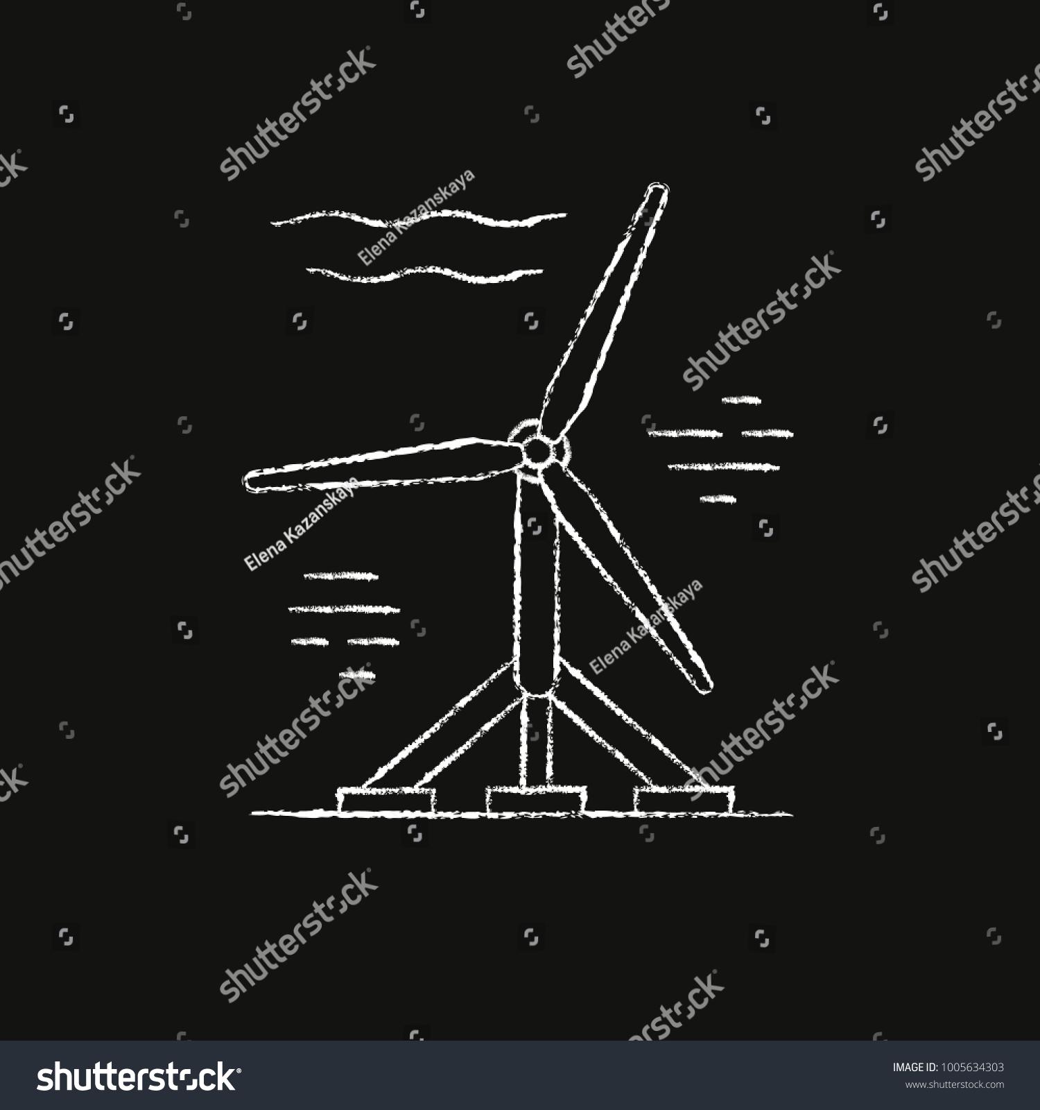 Tidal Energy Icon Sketch On Chalkboard Stock Illustration 1005634303