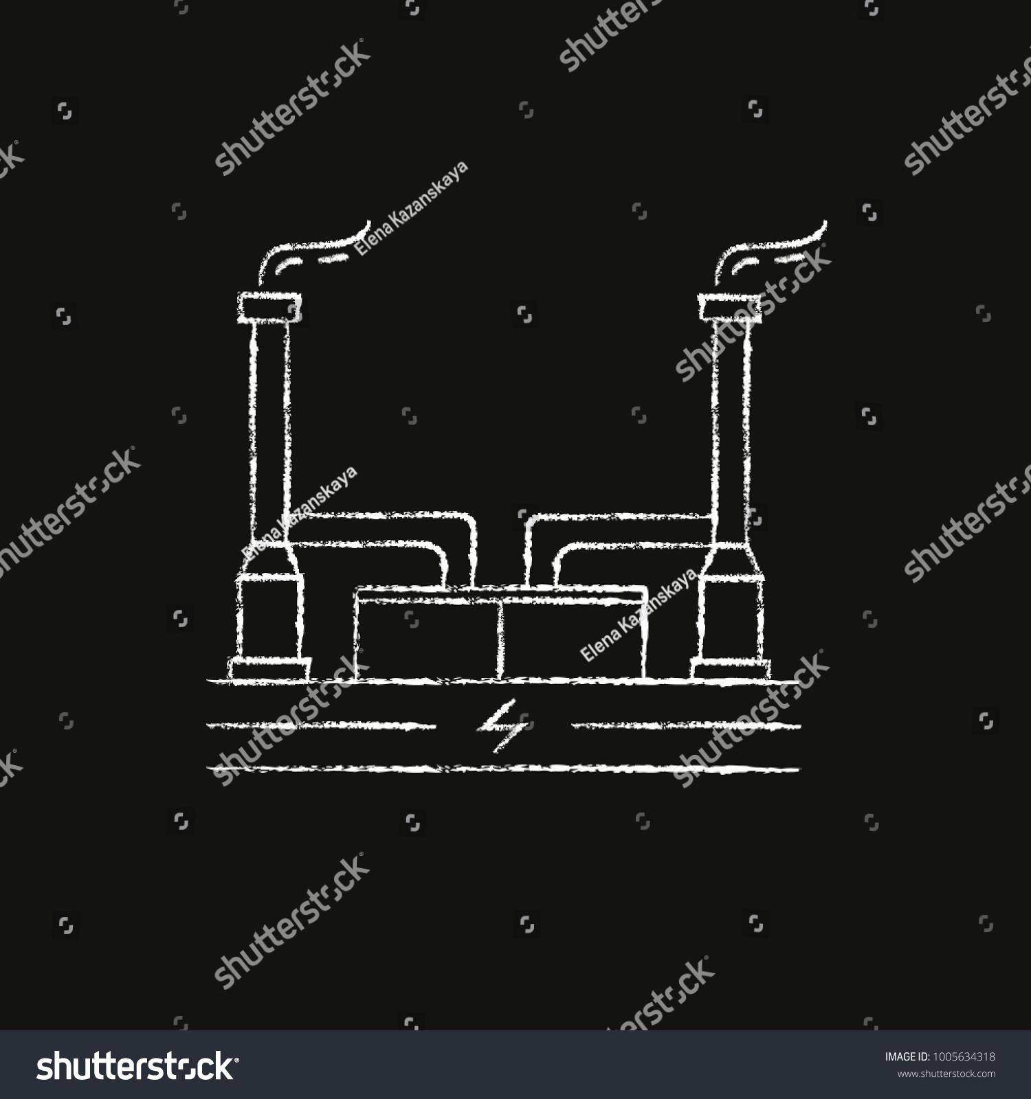 Outline Geothermal Power Plant Icon Sketch Stock Illustration Schematic Diagram On Chalkboard Alternative Renewable Energy Concept Symbol Chalk