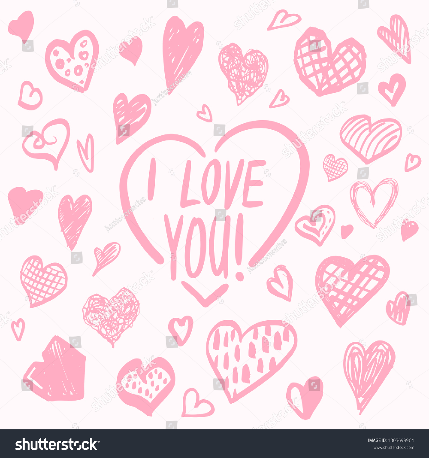 I Love You Valentines Day Hearts Set Cute Pattern Greetings Card