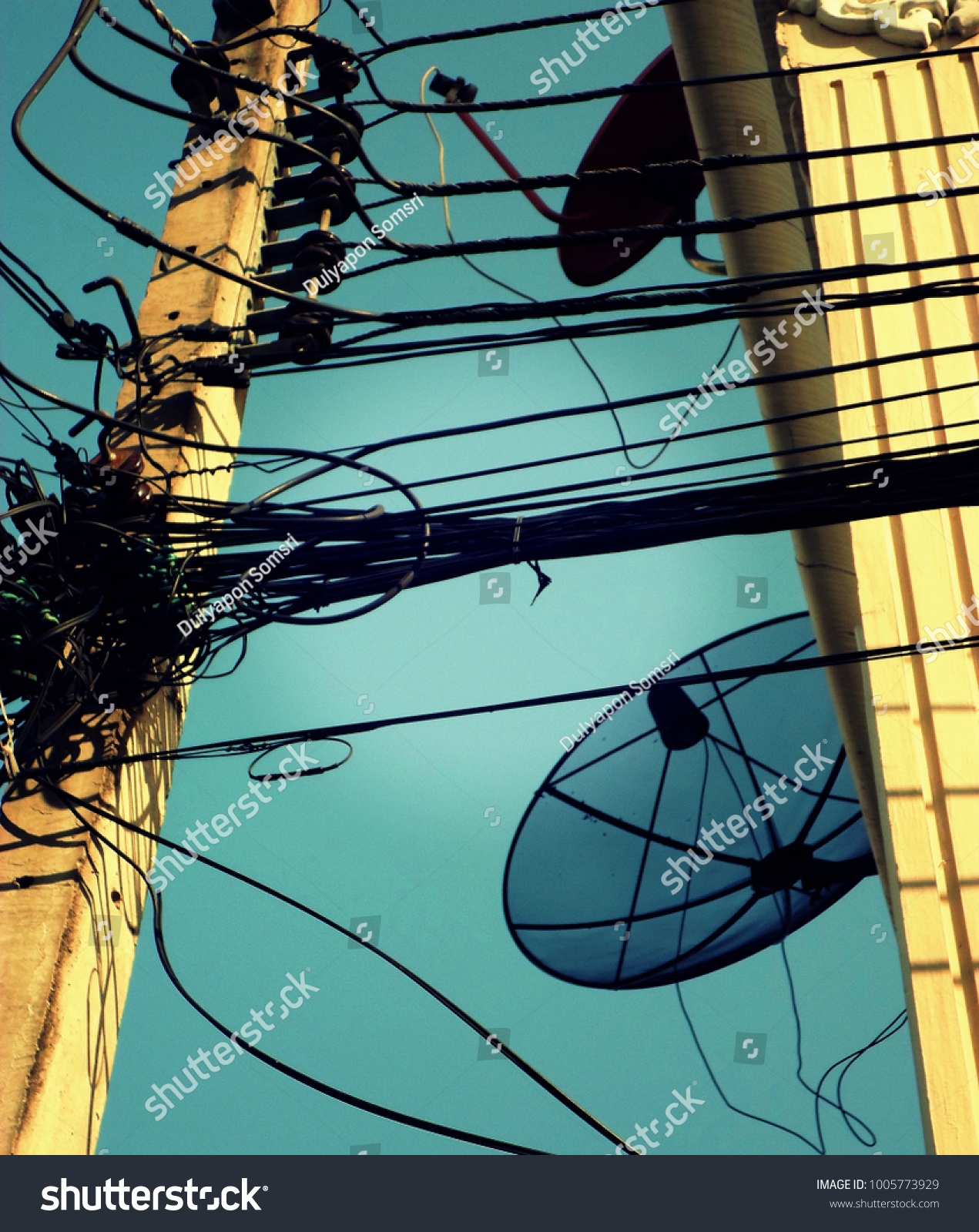 Messy Communication Wire Cable Lines On Stock Photo Edit Now Satellite Dish Wiring And Electric Street Post With A Bright
