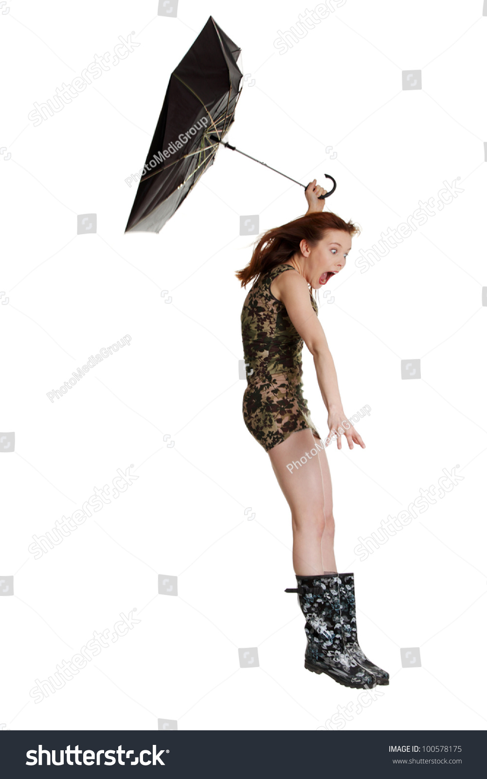 Young Woman Umbrella Blown By Wind Stock Photo Edit Now 100578175