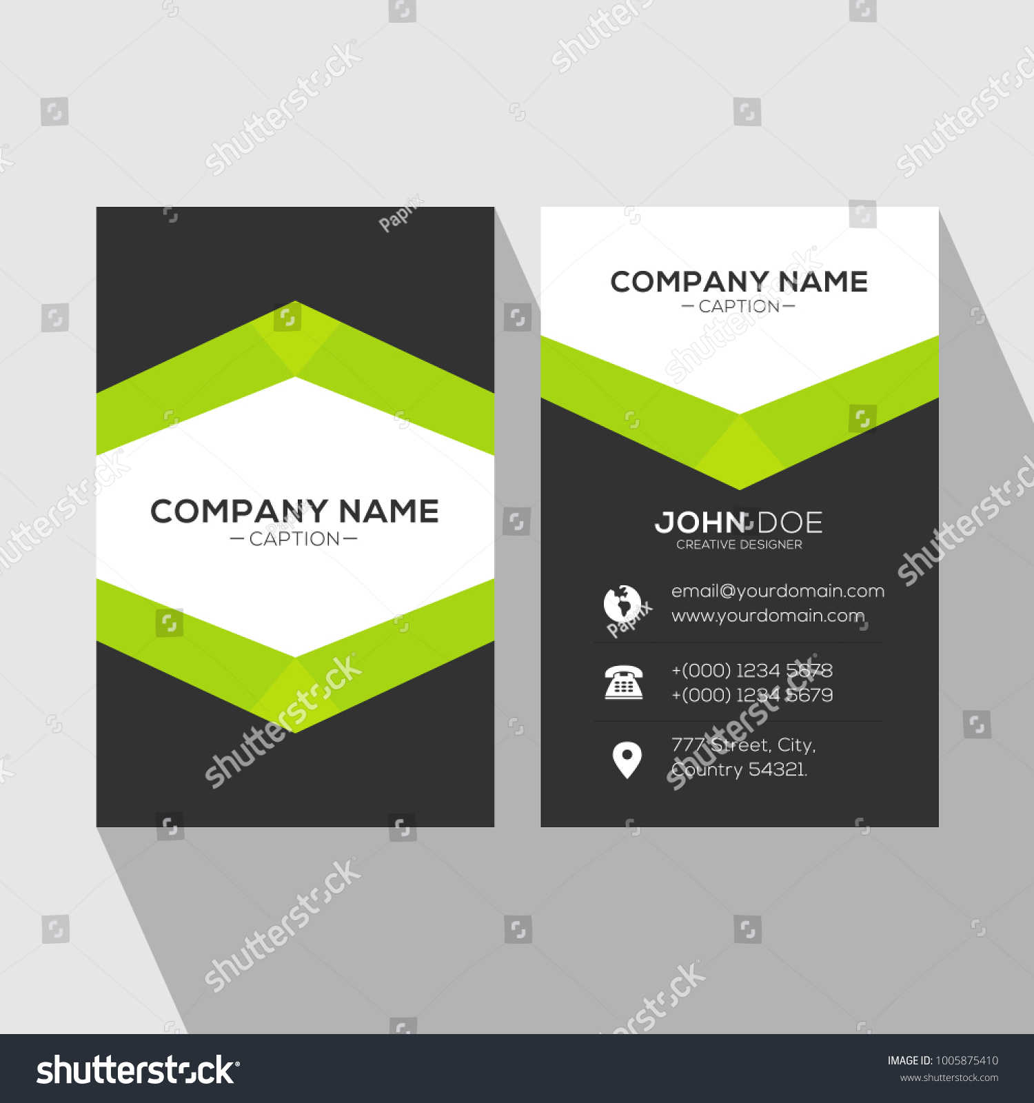Creative Catchy Professional Green Business Card Stock Vector ...