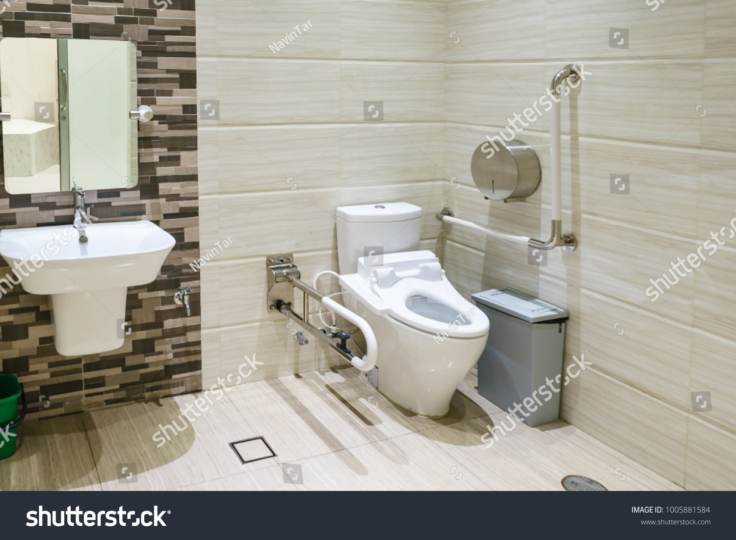 Interior Bathroom Disabled Elderly People Handrail Stock Photo ...