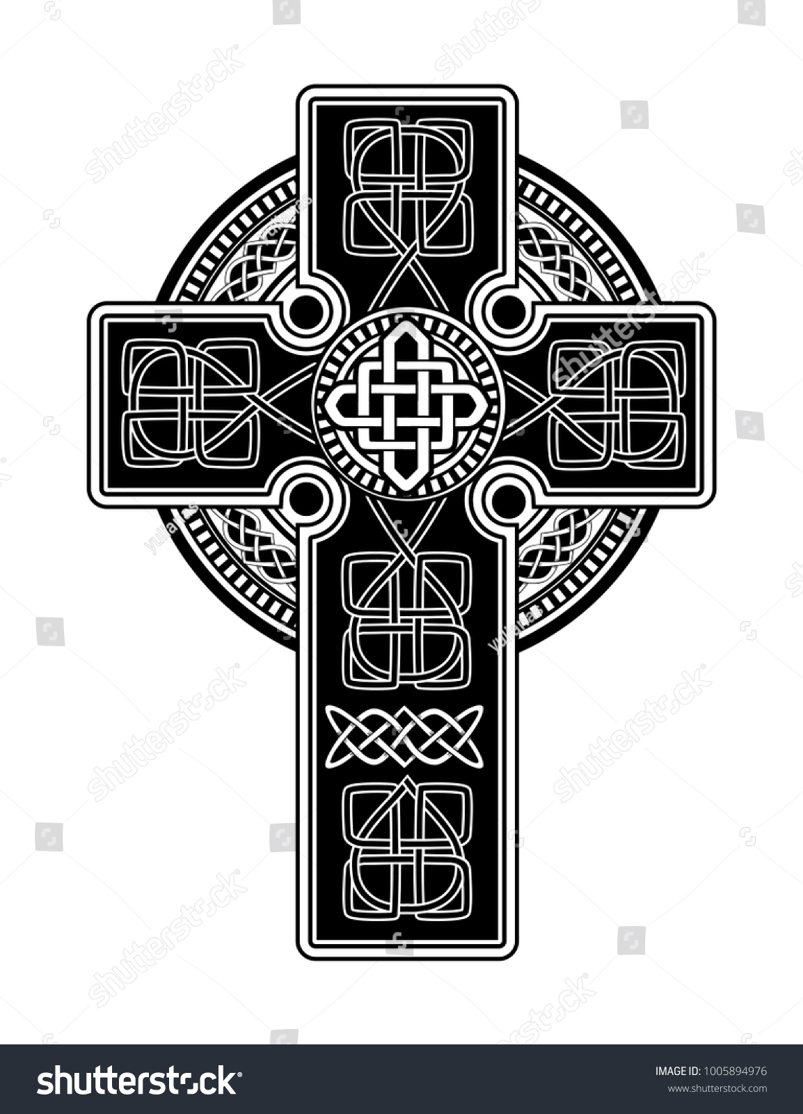 Isolated Celtic Cross National Scandinavian Ornament Stock Vector