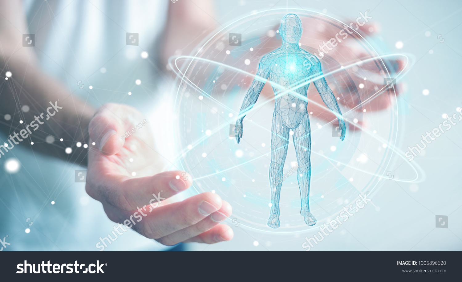 Businessman on blurred background using digital x-ray human body scan interface 3D rendering #1005896620