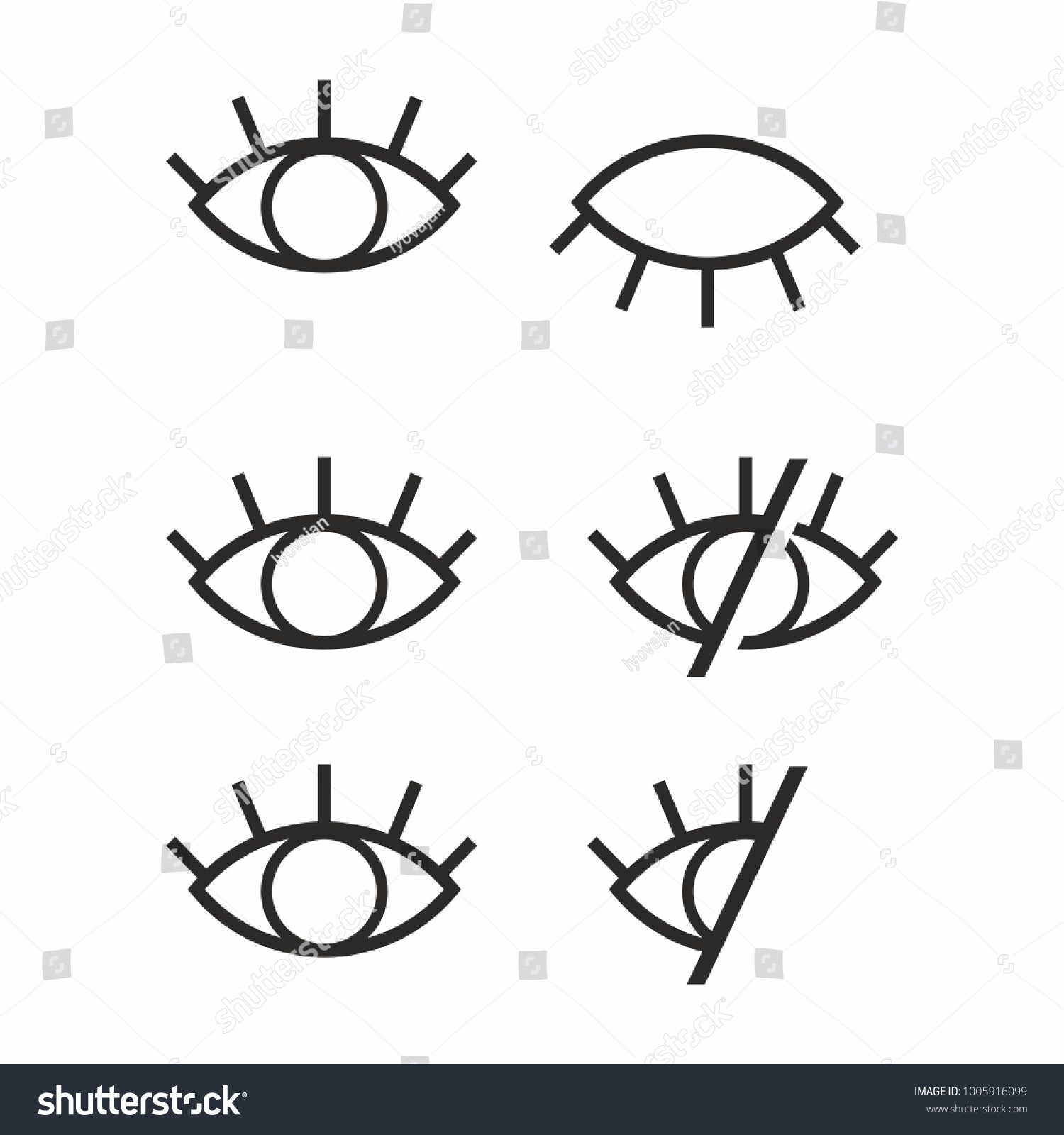 Visible Invisible Icon Symbol Sign Set Stock Vector Royalty Free
