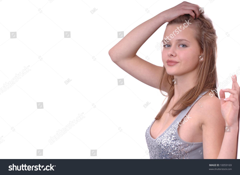 Fresh Teen Part - 24: Beautiful Fresh Faced Teen Model Shot In Studio On White