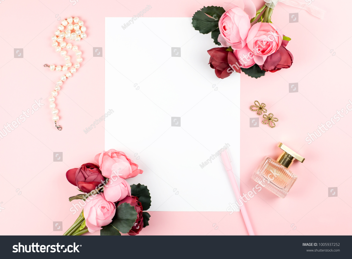 Card Pen Jewelry Perfume Red Pink Stock Photo Edit Now 1005937252