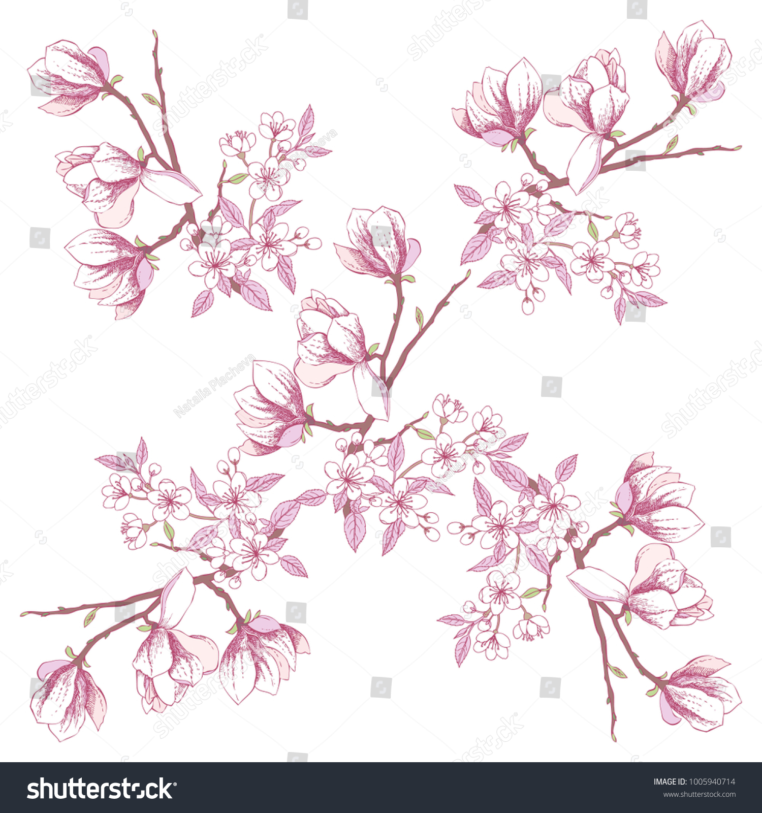 Seamless Pattern With Magnolia And Apple Tree Hand Drawn Sakura