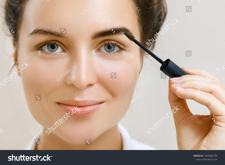 Beautiful Woman Applying Tinted Eyebrow Gel Stock Photo Edit Now