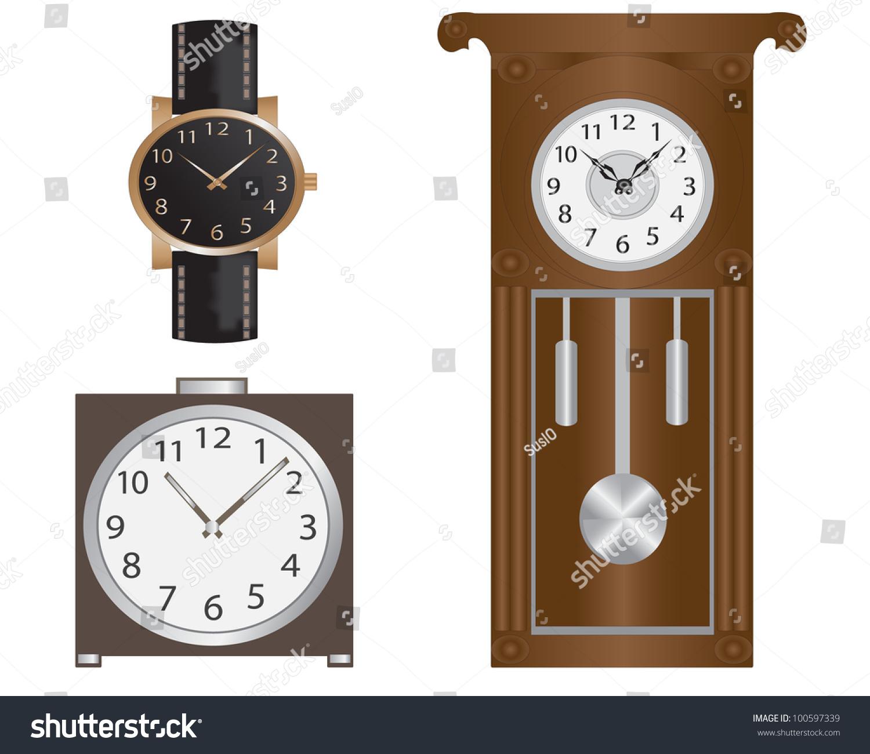 Various clockwatches wall clocks alarm clock stock illustration various clock watches wall clocks and alarm clock amipublicfo Gallery