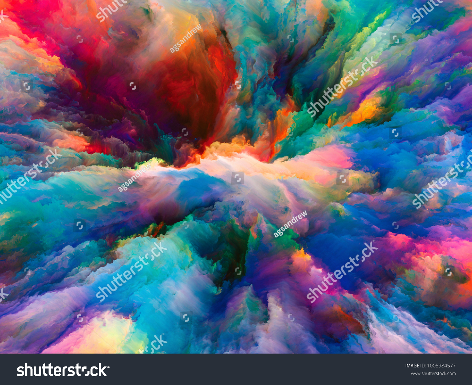 color explosion series design composed of fractal paint and rich