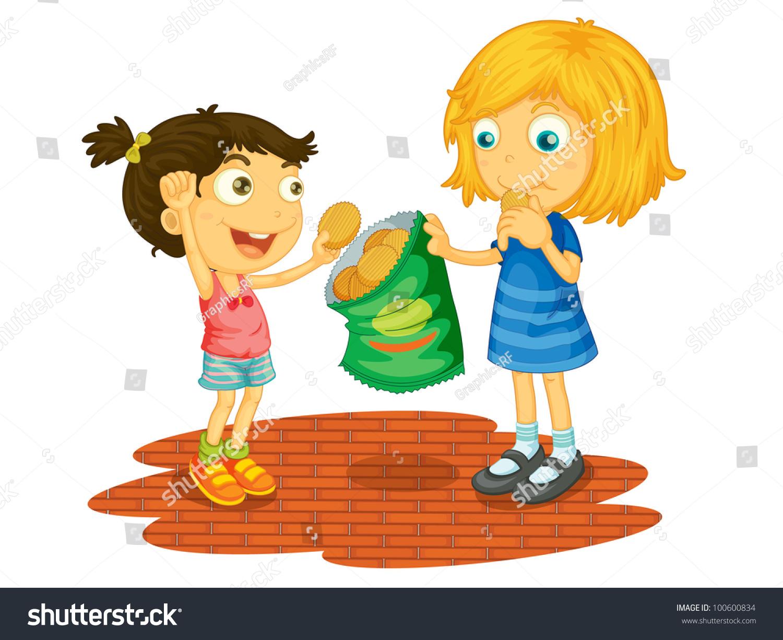 Illustration Children Sharing Chips Eps Vector Stock Photo ...