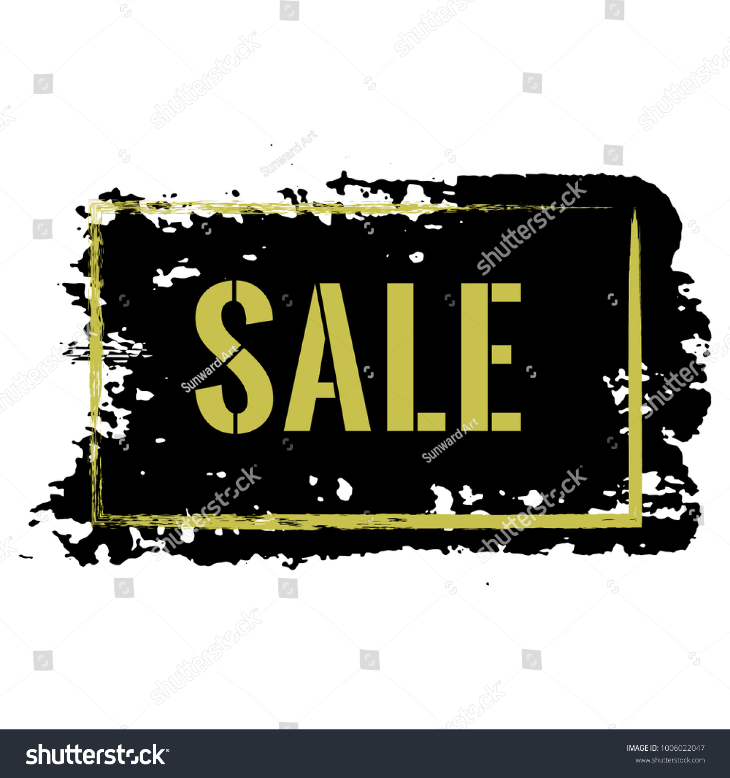sale banner with gold text on black background marketing tag for