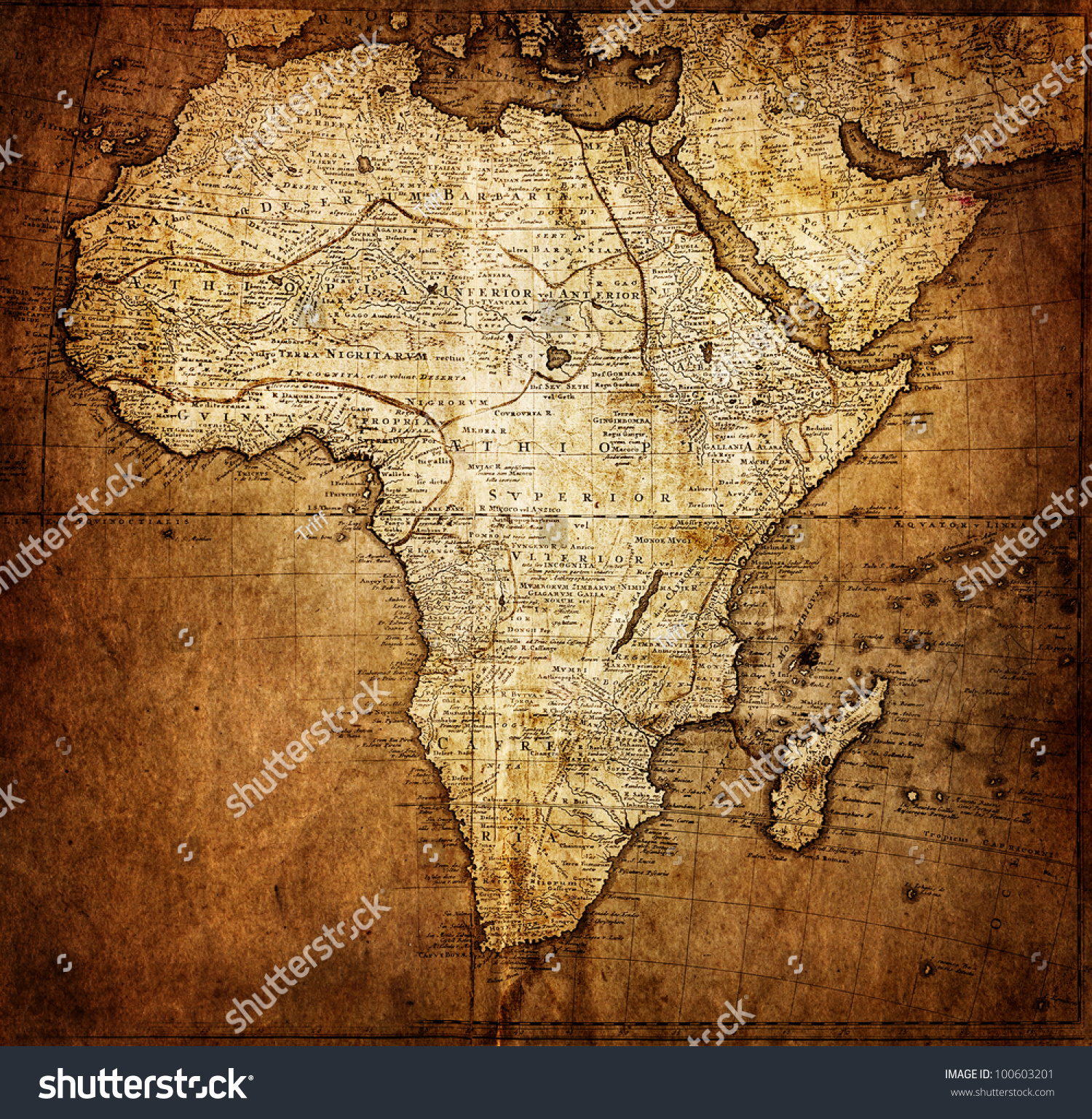 Vintage Map Africa Stock Photo 100603201 Shutterstock