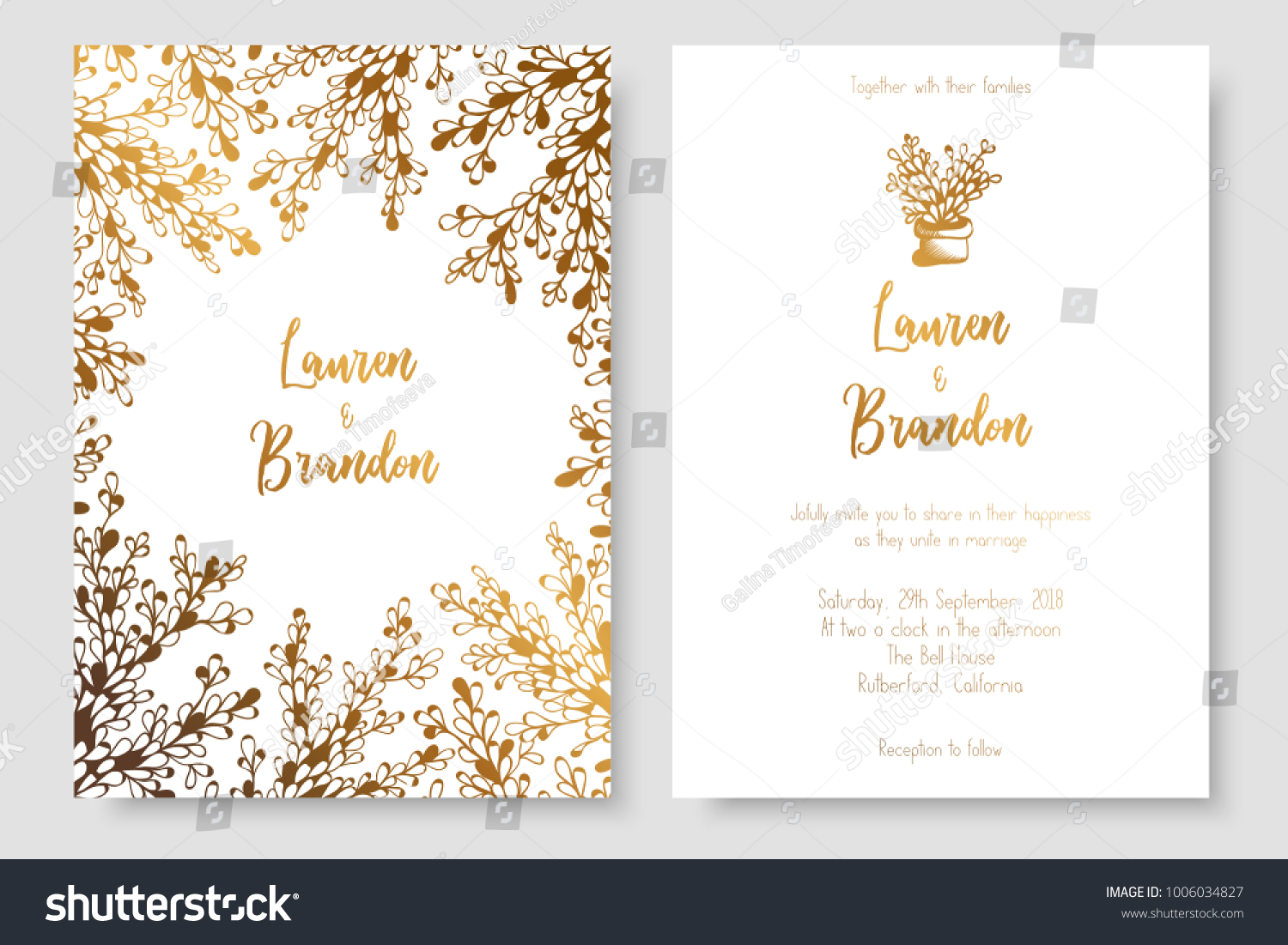 gold invitation abstract plants gold cards stock vector royalty
