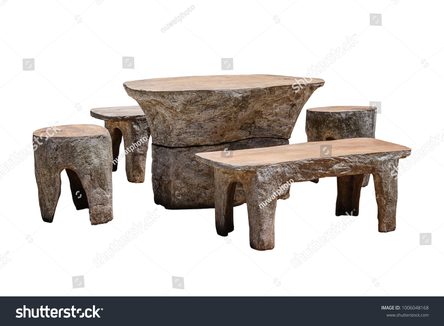 sc 1 st  Shutterstock & Set Stone Table Bench Isolated On Stock Photo 1006048168 - Shutterstock