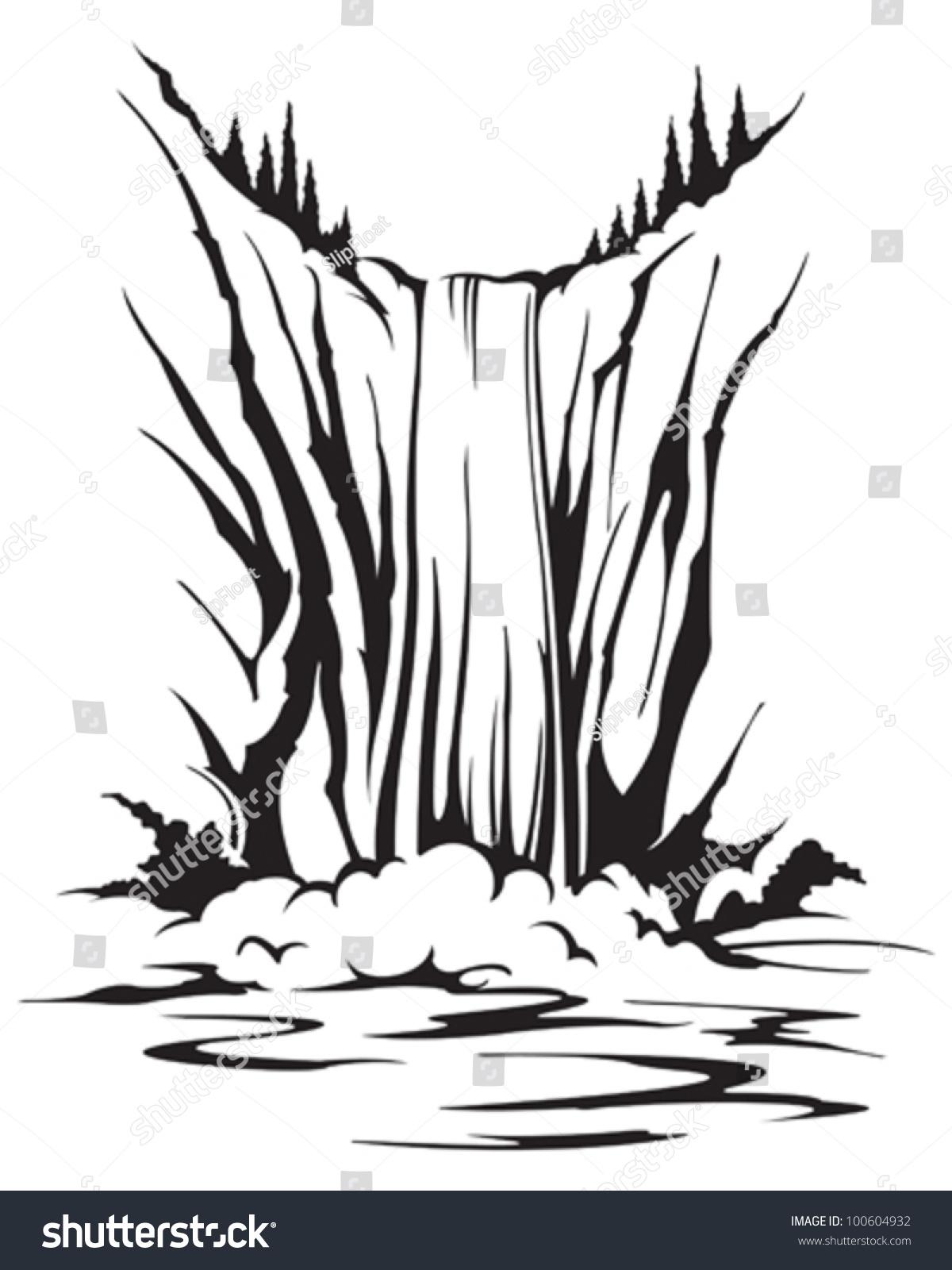 Line Drawing Waterfall : Waterfall stock vector illustration shutterstock